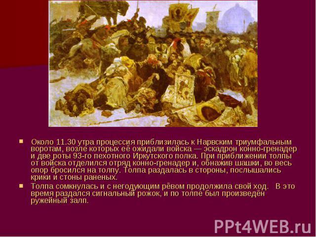 Около 11.30 утра процессия приблизилась к Нарвским триумфальным воротам, возле которых её ожидали войска— эскадрон конно-гренадер и две роты 93-го пехотного Иркутского полка. При приближении толпы от войска отделился отряд конно-гренадер и, обнажив…
