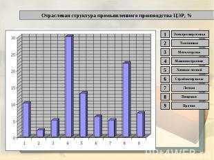 Отраслевая структура промышленного производства ЦЭР, %