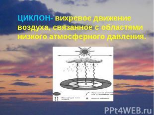 ЦИКЛОН- вихревое движение воздуха, связанное с областями низкого атмосферного да