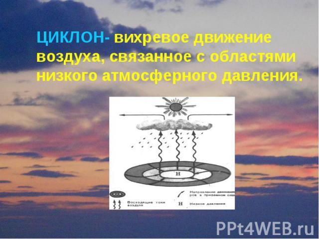 ЦИКЛОН- вихревое движение воздуха, связанное с областями низкого атмосферного давления.