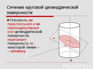 Сечение круговой цилиндрической поверхности Плоскость не параллельная и не перпе