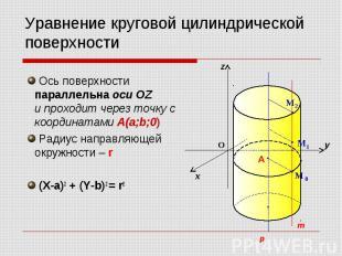 Уравнение круговой цилиндрической поверхности Ось поверхности параллельна оси OZ