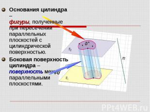 Основания цилиндра – фигуры, полученные при пересечении параллельных плоскостей
