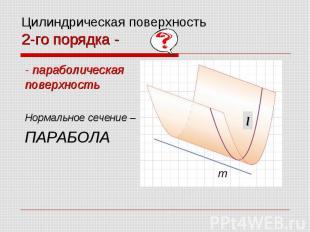 Цилиндрическая поверхность 2-го порядка - - параболическая поверхность Нормально