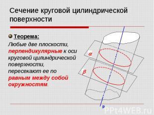 Сечение круговой цилиндрической поверхности Теорема: Любые две плоскости, перпен