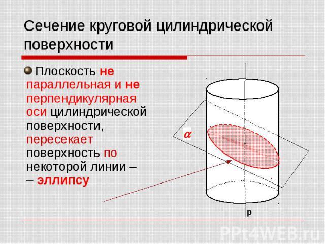 Сечение круговой цилиндрической поверхности Плоскость не параллельная и не перпендикулярная оси цилиндрической поверхности, пересекает поверхность по некоторой линии – – эллипсу