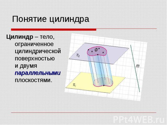 Понятие цилиндра Цилиндр – тело, ограниченное цилиндрической поверхностью и двумя параллельными плоскостями.