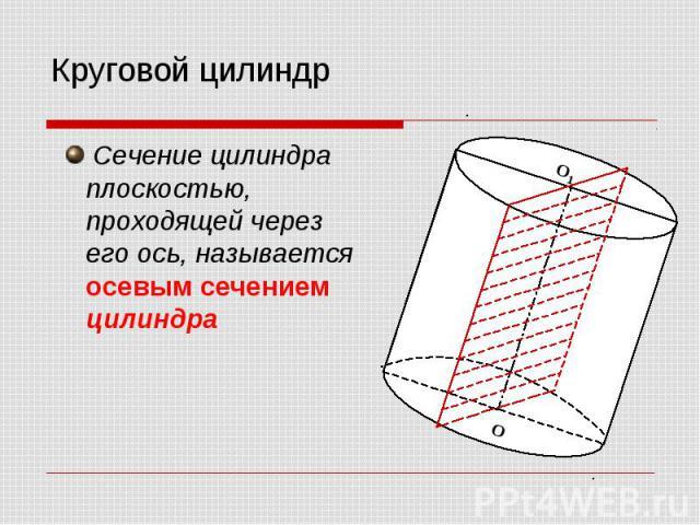 Круговой цилиндр Сечение цилиндра плоскостью, проходящей через его ось, называется осевым сечением цилиндра