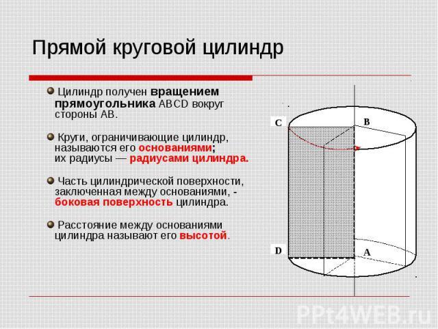 Прямой круговой цилиндр Цилиндр получен вращением прямоугольника ABCD вокруг стороны AB. Круги, ограничивающие цилиндр, называются его основаниями; их радиусы — радиусами цилиндра. Часть цилиндрической поверхности, заключенная между основаниями, - б…