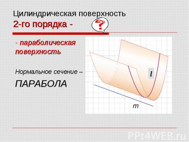 Цилиндрическая поверхность 2-го порядка - - параболическая поверхность Нормальное сечение – ПАРАБОЛА
