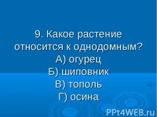 9. Какое растение относится к однодомным? А) огурец Б) шиповник В) тополь Г) оси