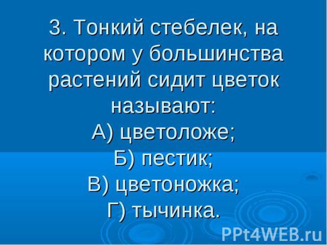 3. Тонкий стебелек, на котором у большинства растений сидит цветок называют: А) цветоложе; Б) пестик; В) цветоножка; Г) тычинка.