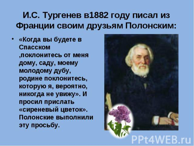 И.С. Тургенев в1882 году писал из Франции своим друзьям Полонским: «Когда вы будете в Спасском ,поклонитесь от меня дому, саду, моему молодому дубу, родине поклонитесь, которую я, вероятно, никогда не увижу». И просил прислать «сиреневый цветок». По…