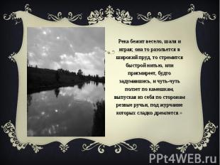 «Река бежит весело, шаля и играя; она то разольется в широкий пруд, то стремится