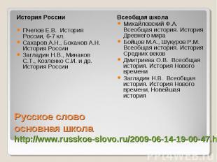 История России Пчелов Е.В. История России, 6-7 кл. Сахаров А.Н., Боханов А.Н. Ис