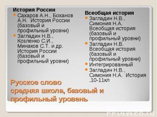 История России Сахаров А.Н., Боханов А.Н. История России (базовый и профильный у