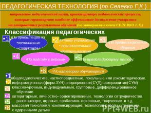 ПЕДАГОГИЧЕСКАЯ ТЕХНОЛОГИЯ (по Селевко Г.К.) направление педагогической науки, пр