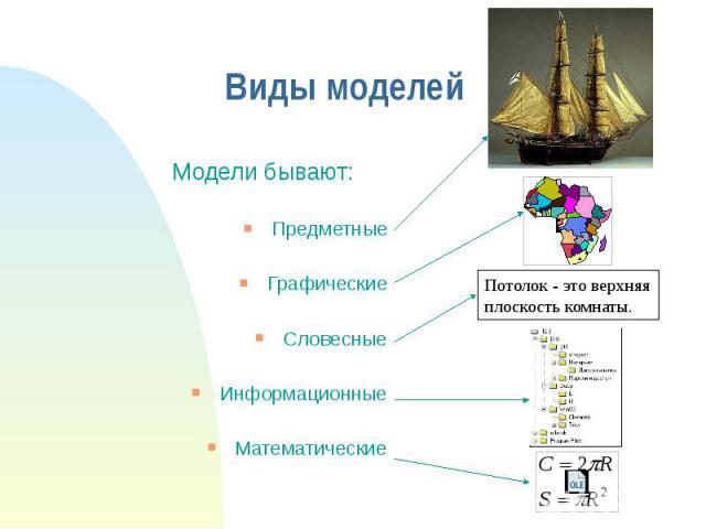 Виды моделей Модели бывают: Предметные Графические Словесные Информационные Математические