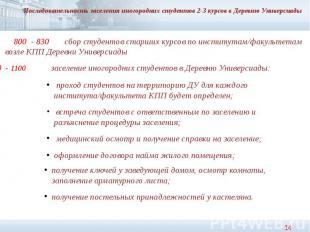 Последовательность заселения иногородних студентов 2-3 курсов в Деревню Универси