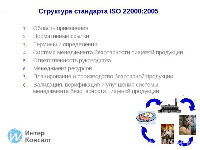 Область применения Область применения Нормативные ссылки Термины и определения Система менеджмента безопасности пищевой продукции Ответственность руководства Менеджмент ресурсов Планирование и производство безопасной продукции Валидация, верификация…