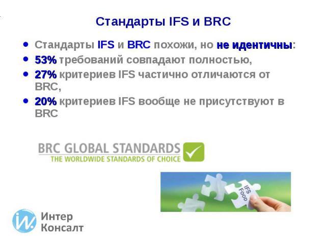 Стандарты IFS и BRC похожи, но не идентичны: Стандарты IFS и BRC похожи, но не идентичны: 53% требований совпадают полностью, 27% критериев IFS частично отличаются от BRC, 20% критериев IFS вообще не присутствуют в BRC
