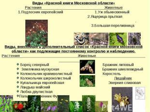 Виды, внесённые в дополнительный список «Красной книги Московской области» как п