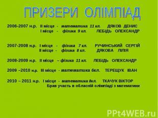 2006-2007 н.р. ІІ місце - математика 11 кл. ДЯКОВ ДЕНИС І місце - фізика 9 кл. Л
