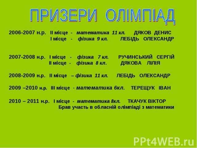 2006-2007 н.р. ІІ місце - математика 11 кл. ДЯКОВ ДЕНИС І місце - фізика 9 кл. ЛЕБІДЬ ОЛЕКСАНДР 2007-2008 н.р. І місце - фізика 7 кл. РУЧИНСЬКИЙ СЕРГІЙ ІІ місце - фізика 8 кл. ДЯКОВА ЛІЛІЯ 2008-2009 н.р. ІІ місце – фізика 11 кл. ЛЕБІДЬ ОЛЕКСАНДР 200…