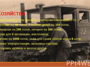 Хозяйство Зерносушилка «Растригина», сортировочная машина ОС-3, телятник на 40 г