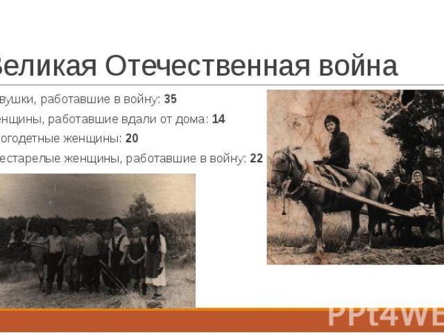 Великая Отечественная война Девушки, работавшие в войну: 35 Женщины, работавшие вдали от дома: 14 Многодетные женщины: 20 Престарелые женщины, работавшие в войну: 22