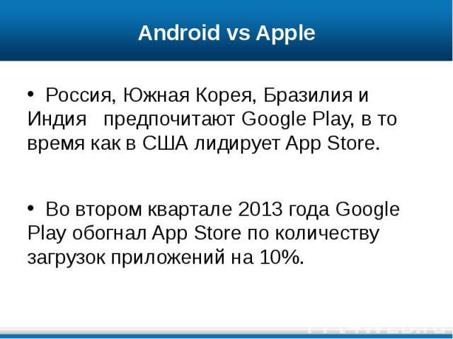 Android vs Apple Россия, Южная Корея, Бразилия и Индия предпочитают Google Play, в то время как в США лидирует App Store. Во втором квартале 2013 года Google Play обогнал App Store по количеству загрузок приложений на 10%.