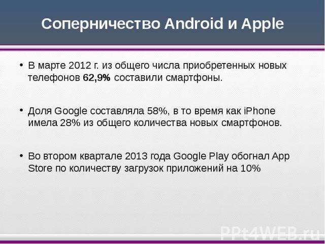 Соперничество Android и Apple В марте 2012 г. из общего числа приобретенных новых телефонов 62,9% составили смартфоны. Доля Google составляла 58%, в то время как iPhone имела 28% из общего количества новых смартфонов. Во втором квартале 2013 года Go…