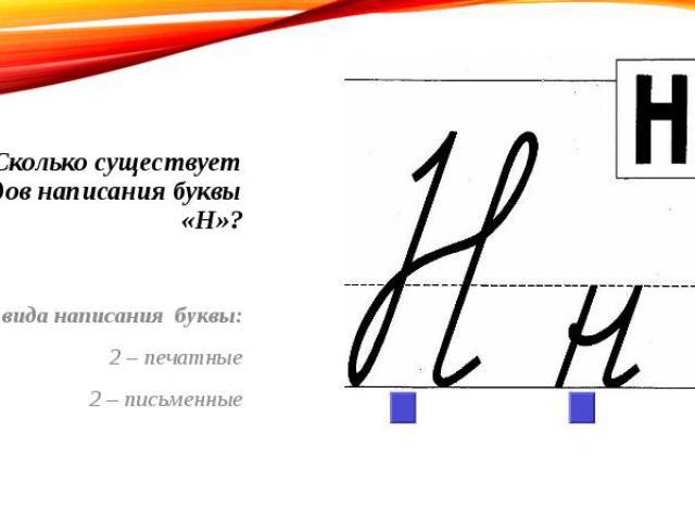 Сколько существует видов написания буквы «Н»? 4 вида написания буквы: 2 – печатные 2 – письменные