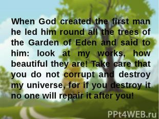 When God created the first man he led him round all the trees of the Garden of E