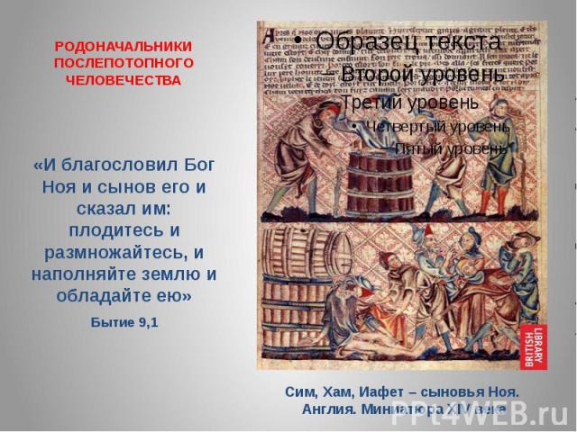РОДОНАЧАЛЬНИКИ ПОСЛЕПОТОПНОГО ЧЕЛОВЕЧЕСТВА «И благословил Бог Ноя и сынов его и сказал им: плодитесь и размножайтесь, и наполняйте землю и обладайте ею» Бытие 9,1 Сим, Хам, Иафет – сыновья Ноя. Англия. Миниатюра XIV века
