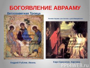 БОГОЯВЛЕНИЕ АВРААМУ Ветхозаветная Троица Явление Аврааму трех Ангелов у дуба Мам