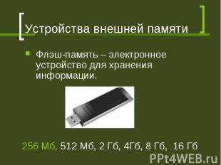 Устройства внешней памяти Флэш-память – электронное устройство для хранения инфо