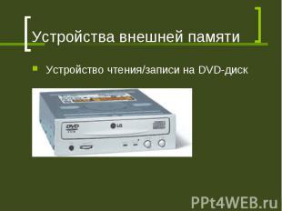 Устройства внешней памяти Устройство чтения/записи на DVD-диск