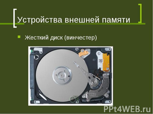 Устройства внешней памяти Жесткий диск (винчестер)