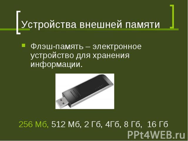 Устройства внешней памяти Флэш-память – электронное устройство для хранения информации. 256 Мб, 512 Мб, 2 Гб, 4Гб, 8 Гб, 16 Гб
