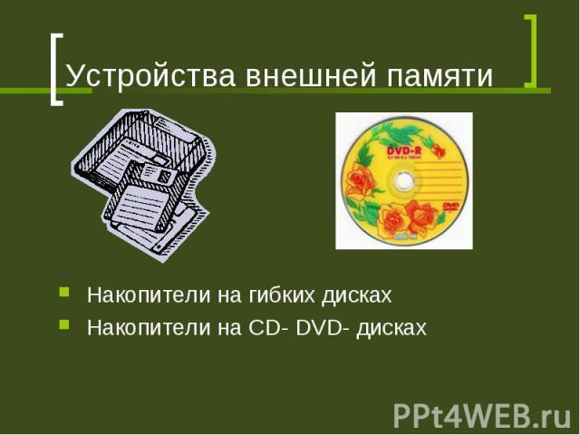 Устройства внешней памяти Накопители на гибких дисках Накопители на CD- DVD- дисках