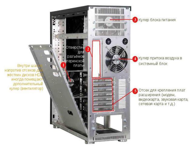 Внутри шасси, напротив отсеков для жёстких дисков HDD иногда помещают дополнительный кулер (вентилятор) Отверстие для разъёмов материнской платы Отсек для крепления плат расширения (модем, видеокарта, звуковая карта, сетевая карта и т.д.) Кулер прит…