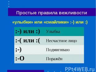 Простые правила вежливости «улыбки» или «смайлики» :-) или :)