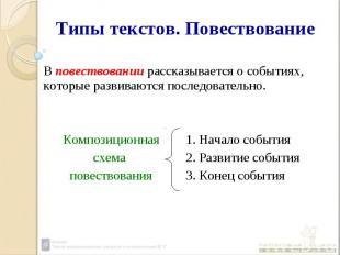 Типы текстов. Повествование