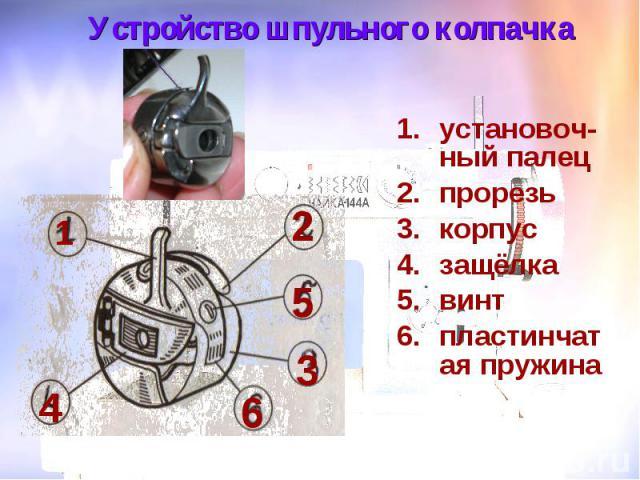 Устройство шпульного колпачка установоч-ный палец прорезь корпус защёлка винт пластинчатая пружина