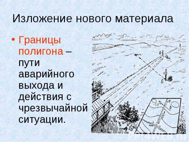Изложение нового материала Границы полигона – пути аварийного выхода и действия с чрезвычайной ситуации.