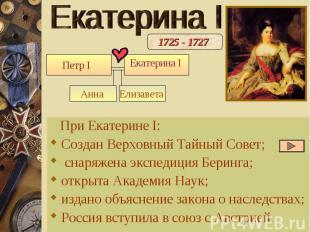 Екатерина I При Екатерине I: Создан Верховный Тайный Совет; снаряжена экспедиция