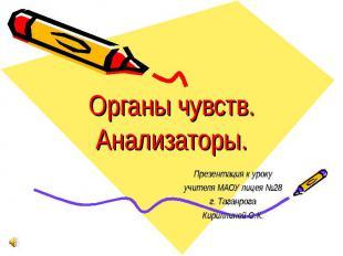 Органы чувств. Анализаторы Презентация к уроку учителя МАОУ лицея №28 г. Таганро