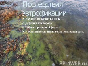 Последствия эвтрофикации Ухудшение качества воды; Дефицит кислорода; Гибель прир