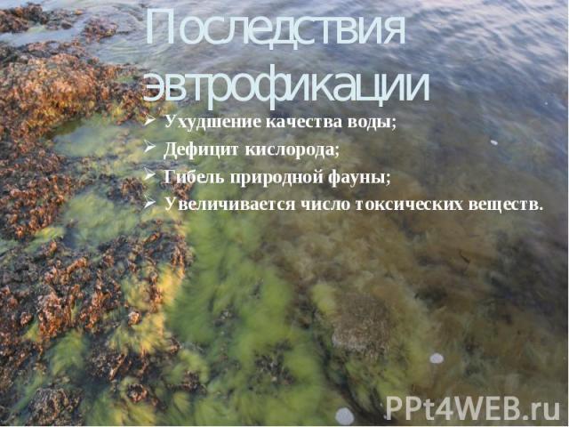Последствия эвтрофикации Ухудшение качества воды; Дефицит кислорода; Гибель природной фауны; Увеличивается число токсических веществ.